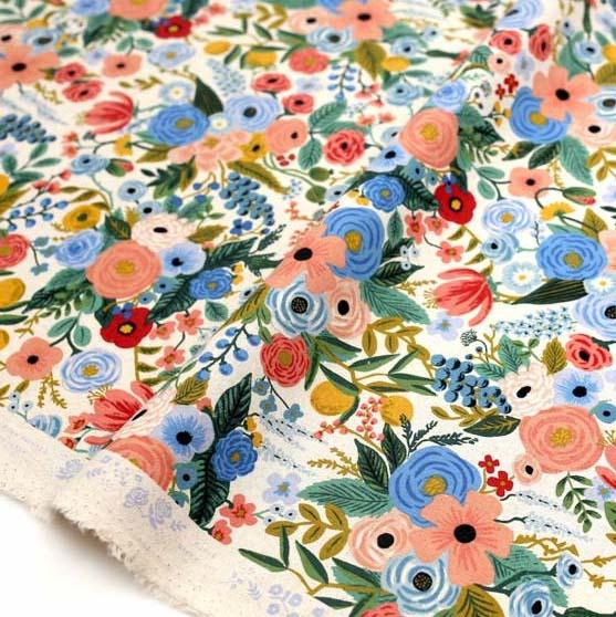 (chope) Cotton + Steel Rifle Paper Co Wildwood Garden Party - Canvas - Blue - Half Yard - Nekoneko Fabric