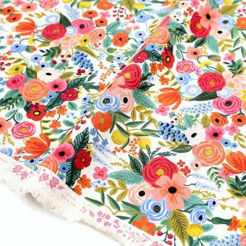 (chope) Cotton + Steel Rifle Paper Co Wildwood Garden Party - Canvas - Pink - Half Yard - Nekoneko Fabric