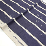 3 min Kokka Wide Stripes Cotton Linen Sheeting - navy blue - 50cm