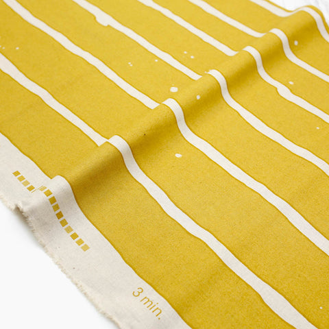 3 min Kokka Wide Stripes Cotton Linen Sheeting - yellow - 50cm - Nekoneko Fabric