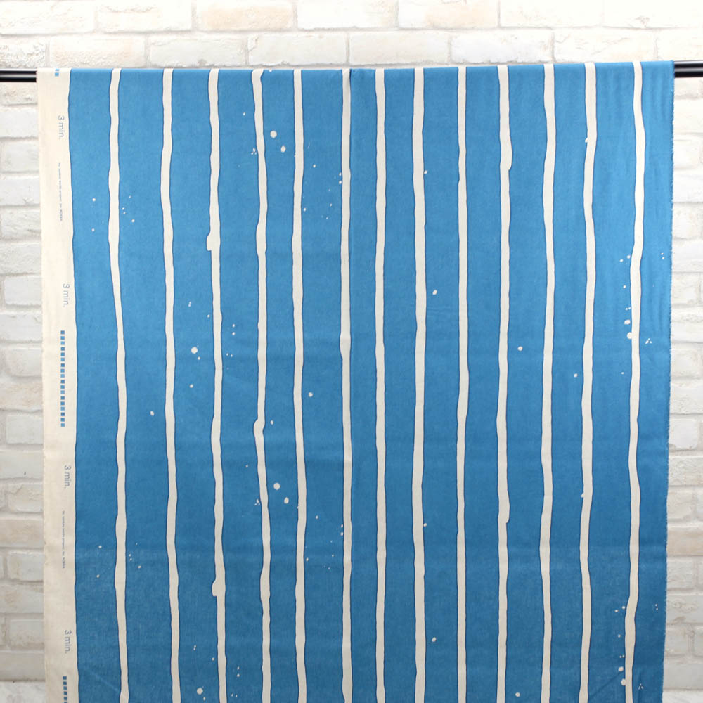 3 min Kokka Wide Stripes Cotton Linen Sheeting - blue - 50cm - Nekoneko Fabric