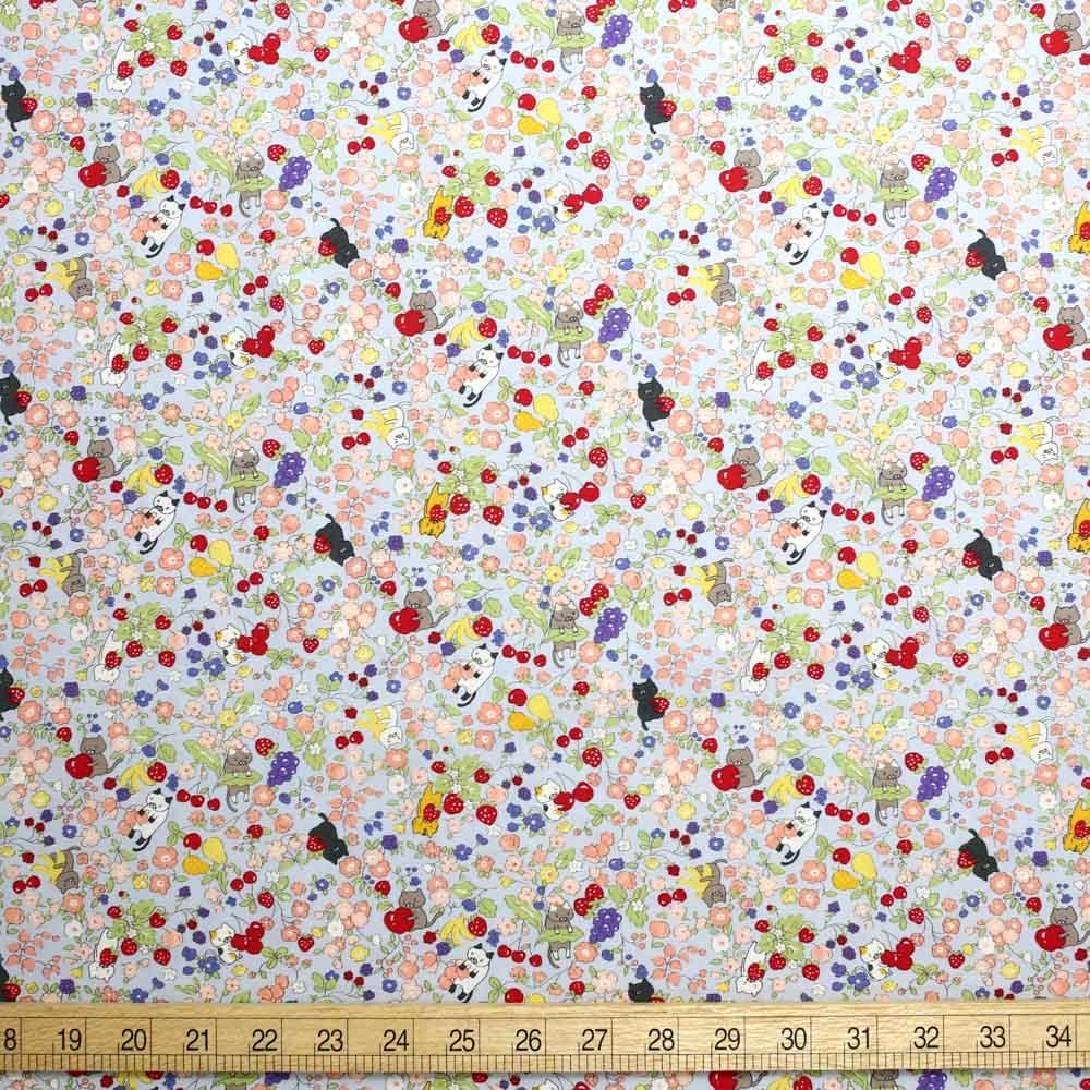 (chope) Kobayashi Cats Floral Garden Cotton Broadcloth - Blue - 50cm - Nekoneko Fabric