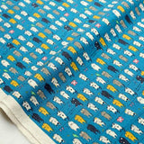 Kobayashi Cats Clothesline Cotton Canvas - Blue - 50cm - Nekoneko Fabric