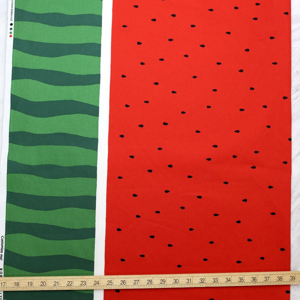 Kokka Watermelon Laminated Cotton Oxford - Red - 50cm - Nekoneko Fabric