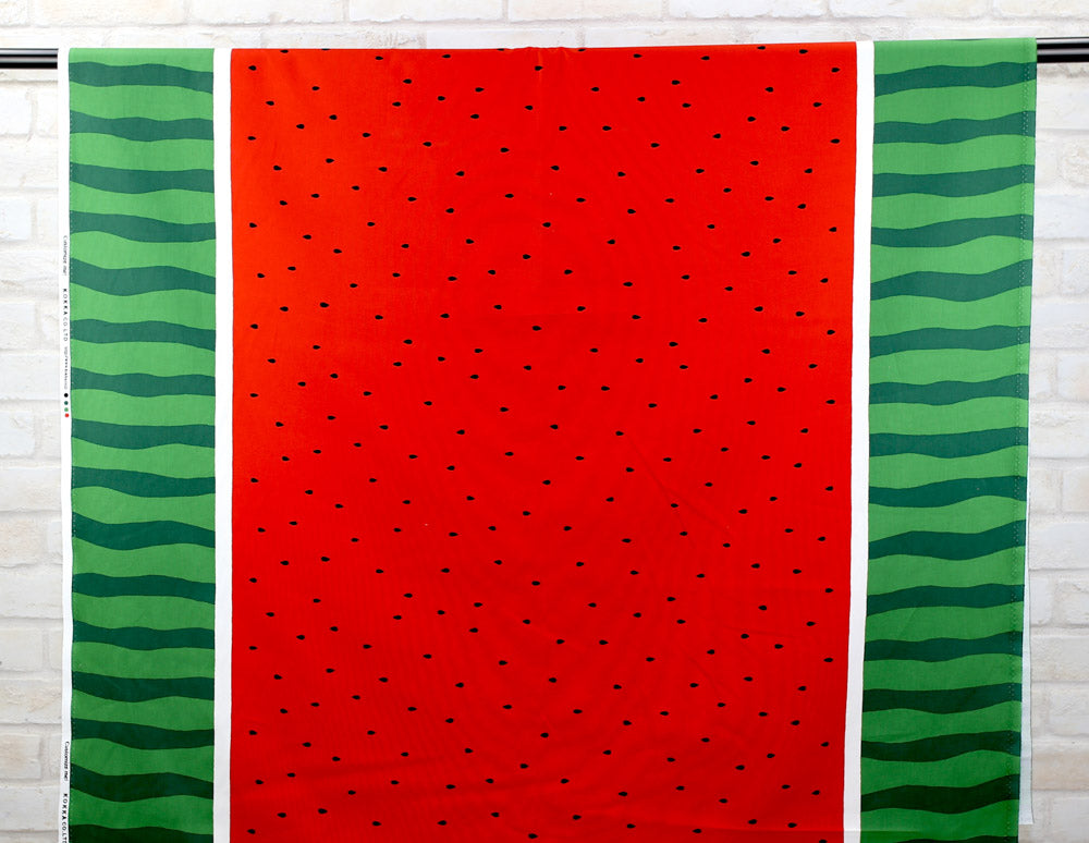 Kokka Watermelon Cotton Oxford - Red - 50cm - Nekoneko Fabric