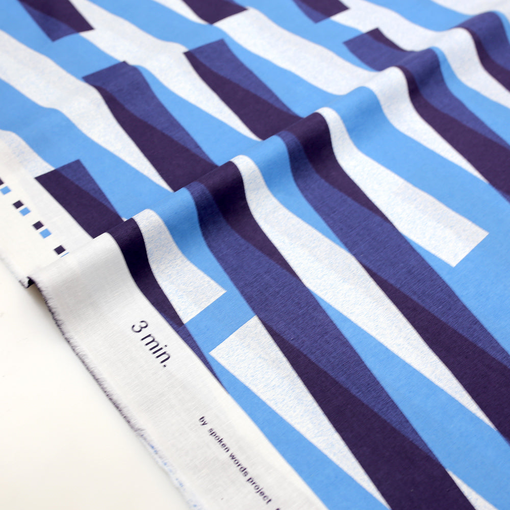 3 min Kokka Stripes Cotton Linen Sheeting - blue - 50cm - Nekoneko Fabric