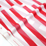 3 min Kokka Stripes Cotton Linen Sheeting - Red - 50cm - Nekoneko Fabric