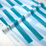 3 min Kokka Stripes Cotton Linen Sheeting - teal - 50cm