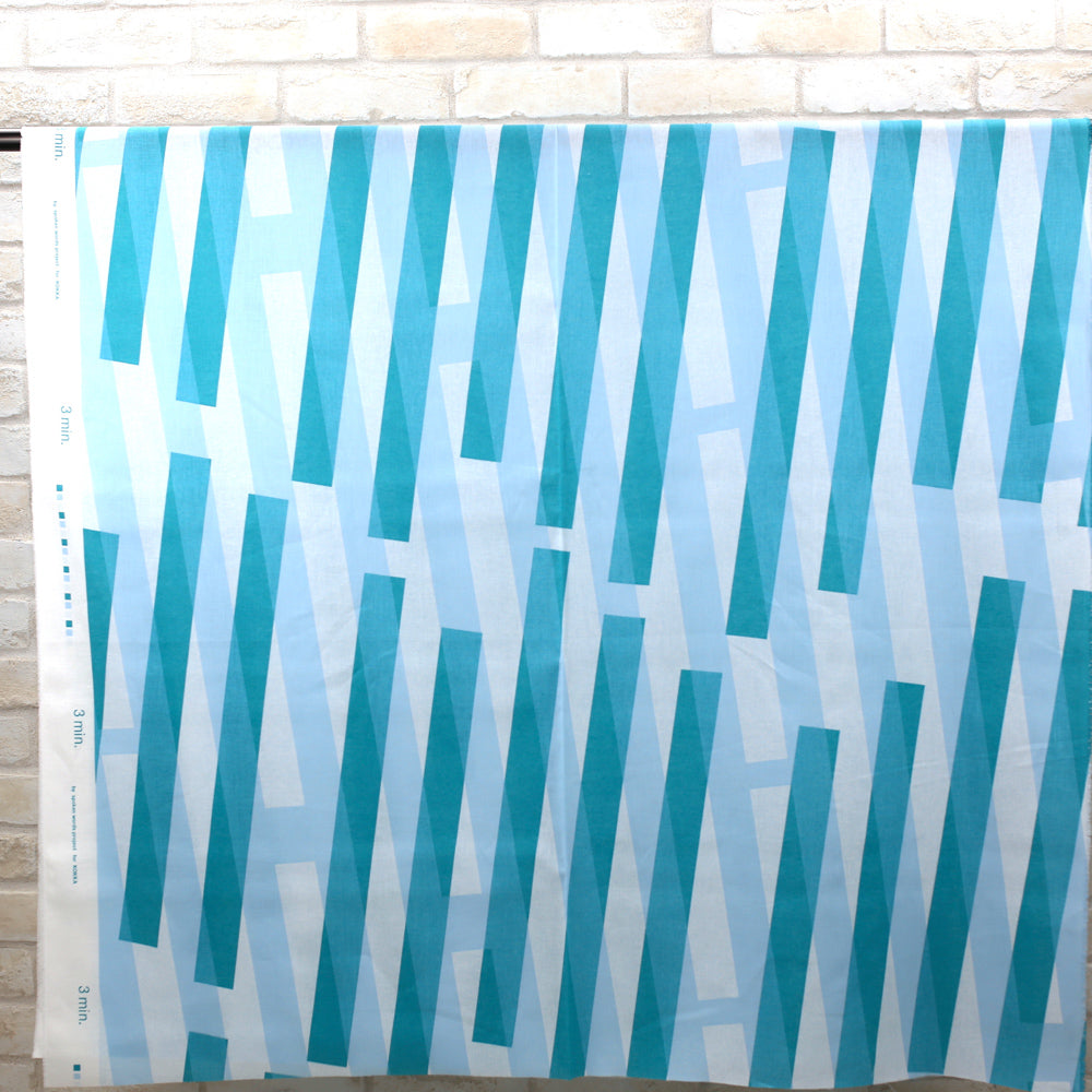 3 min Kokka Stripes Cotton Linen Sheeting - teal - 50cm - Nekoneko Fabric