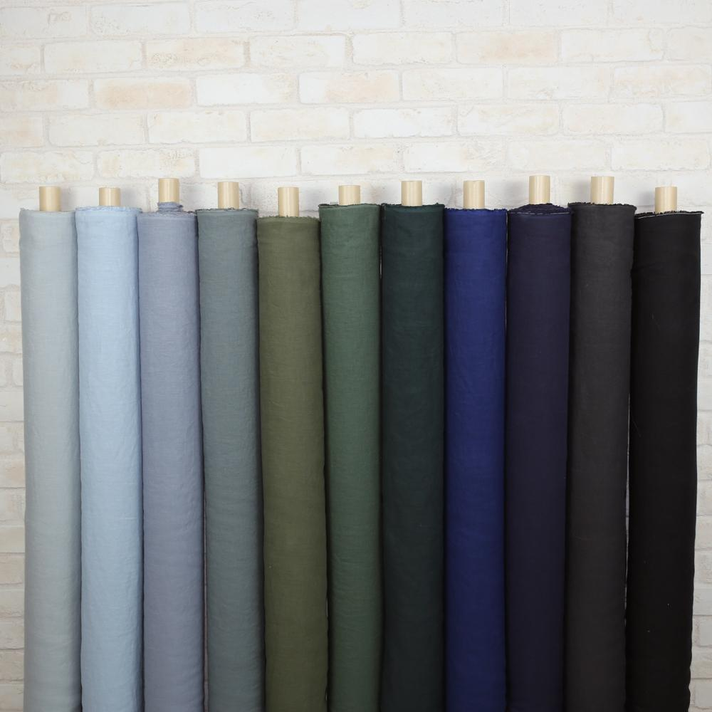 Oharayaseni Solid Colour Washer Finish Linen - Dark Emerald 129 - 50cm