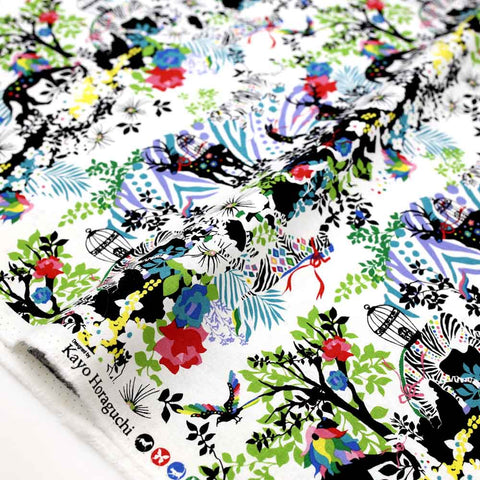 Kayo Horaguchi Botanical Garden Soft Canvas - Black - Half Meter - Nekoneko Fabric