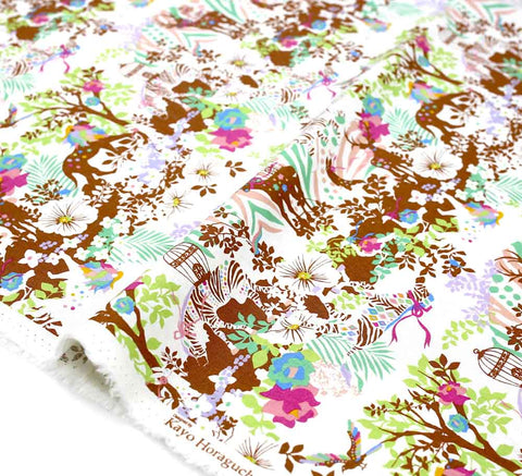 Kayo Horaguchi Botanical Garden Soft Canvas - Pink - 50cm - Nekoneko Fabric