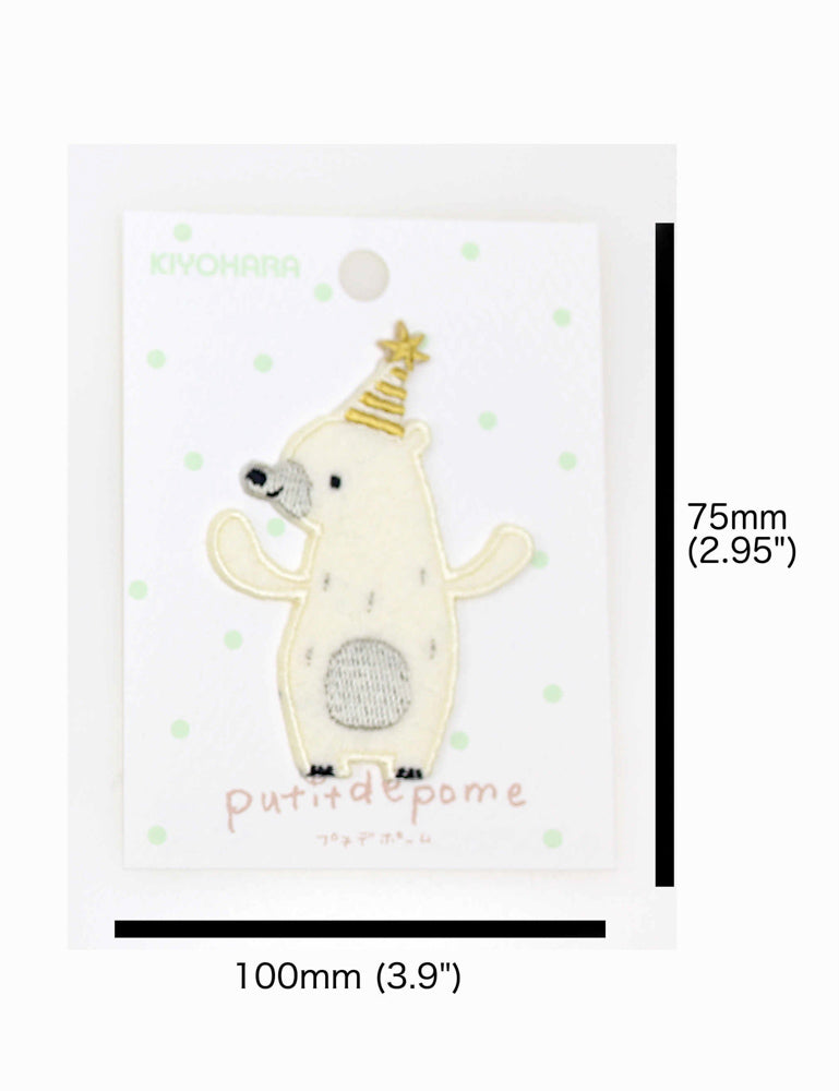 Putidepome Embroidered Iron On Patches - One Polar Bear + Party Hat