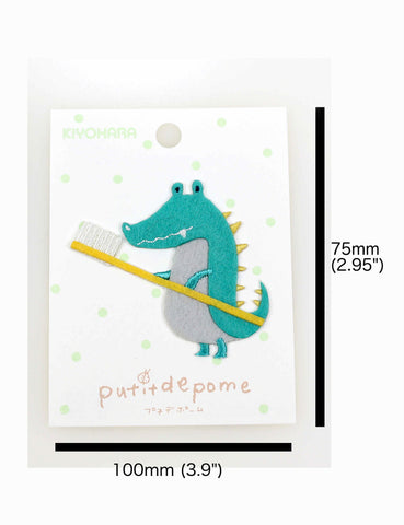 Putitdepome Felt Iron On Patches - One Crocodile + Toothbrush