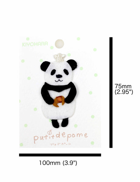 Putitdepome Felt Iron On Patches - One Panda + Crossaint
