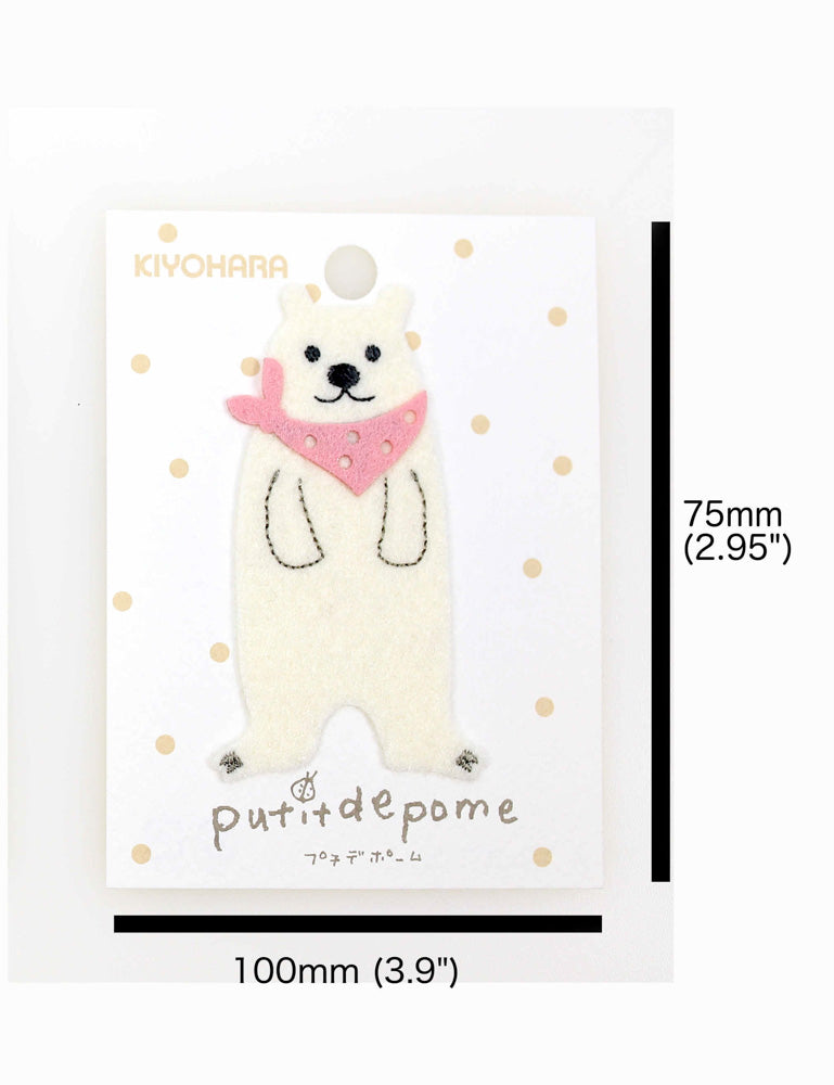 Putidepome Felt Iron On Patches - One Polar Bear + Bandanna - Nekoneko Fabric