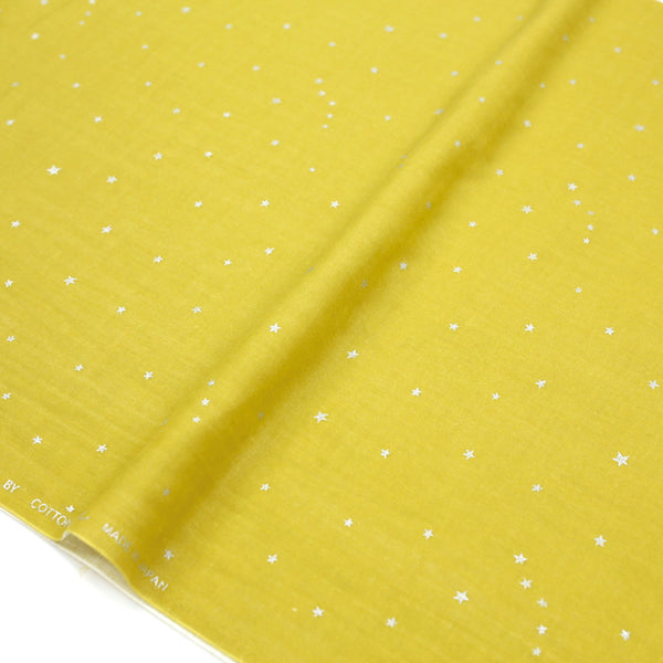 Kobayashi Metallic Starry Double Gauze - Yellow F - 50cm - Nekoneko Fabric