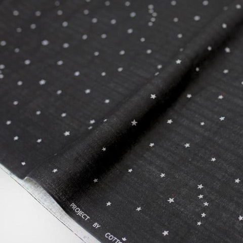 Kobayashi Metallic Starry Double Gauze - Black - Half Meter