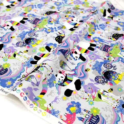 Kayo Horaguchi Matching Pattern Soft Canvas - Grey - Half Meter - Nekoneko Fabric