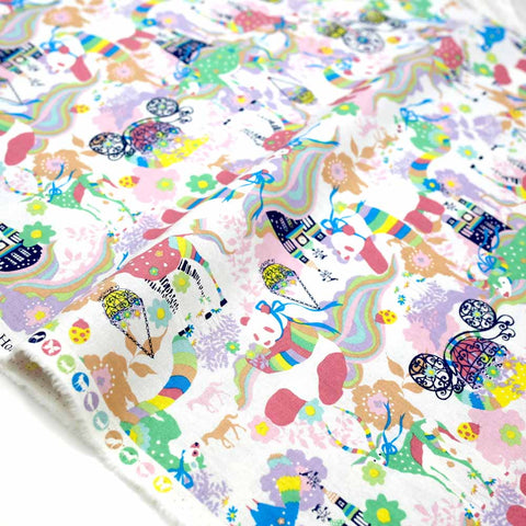 Kayo Horaguchi Matching Pattern Soft Canvas - Pink - 50cm - Nekoneko Fabric