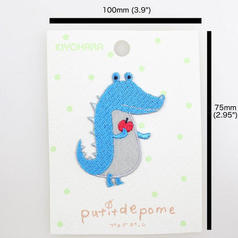 Putitdepome Embroidered Iron On Patches - One Crocodile + Apple