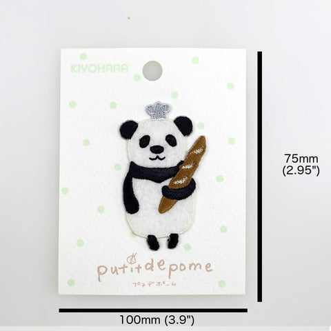 Putitdepome Embroidered Iron On Patches - One Panda Baguette