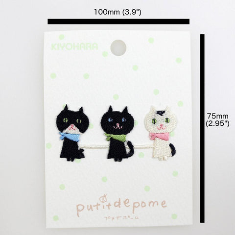 Putitdepome Embroidered Iron On Patches - Three Cats