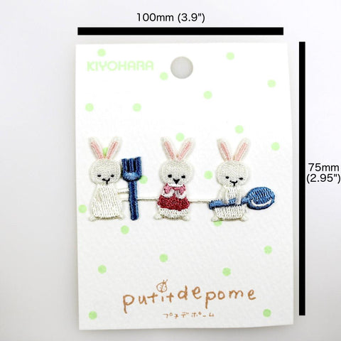 Putitdepome Embroidered Iron On Patches - Three Rabbits + Spoon
