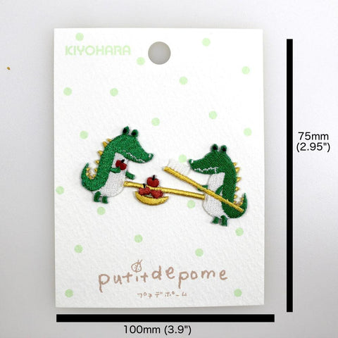 Putitdepome Embroidered Iron On Patches - Two Crocodiles