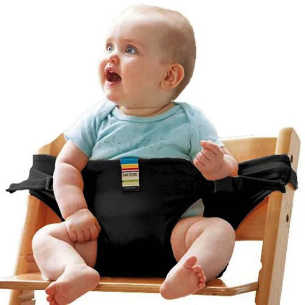 Baby's Dining Time Safety Harness. Use in a chair or strap to parents lap. (See photos.)
