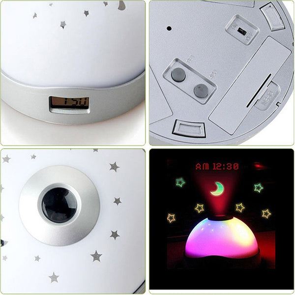 Alarm Clock: Children's Starry Night Sky Projection Clock. Creative Colorful Projection Clock Star Sky Night Light LED Magic Digital Projection Starry Alarm Clock Time Home Decoration