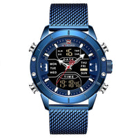 Watch: Men's: NAVIFORCE 9153 Top Brand Luxury Sport Watches LED Military Waterproof Steel Band Wristwatch; relogio masculino