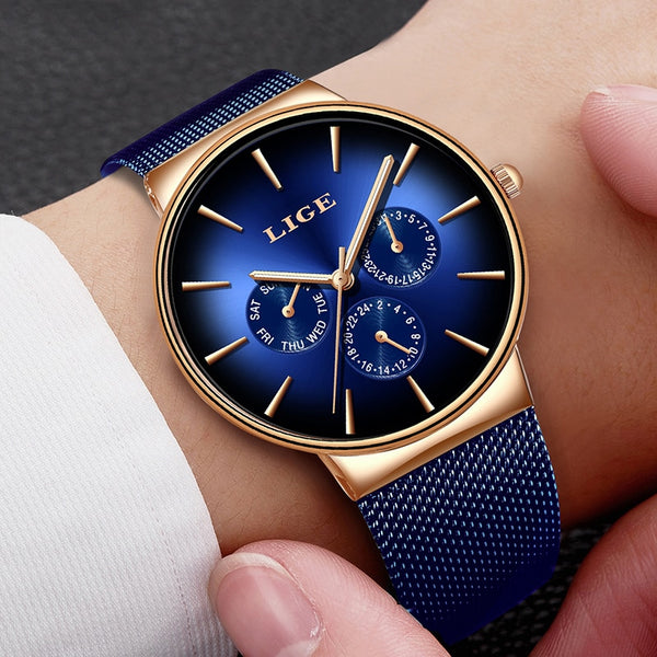 Watch: Men's Luxury Business Watch, New for 2019, by LIGE, Relogio Masculino, Water Resistant.