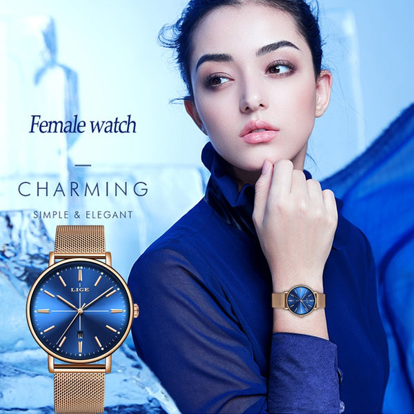 Watch: Women's Luxury Business Watch, New for 2019, by LIGE, Relogio Feminino