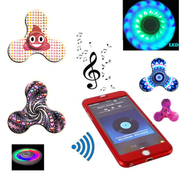 Mini Bluetooth Speaker Music Fidget Spinner LED EDC Hand Spinner Toys Creative finger spinner drop shipping