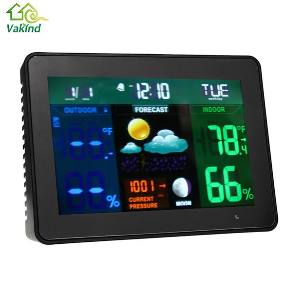 Alarm Clock (and Indoor/Outdoor Weather Station): [Despertador con estacion meteorlogica interior/exterior]. LED displays of Calendar, Time, Day, Temperature, Humidity, Barometric Pressure, Forecast, Moon Phase. Wireless Outdoor Monitor Station.