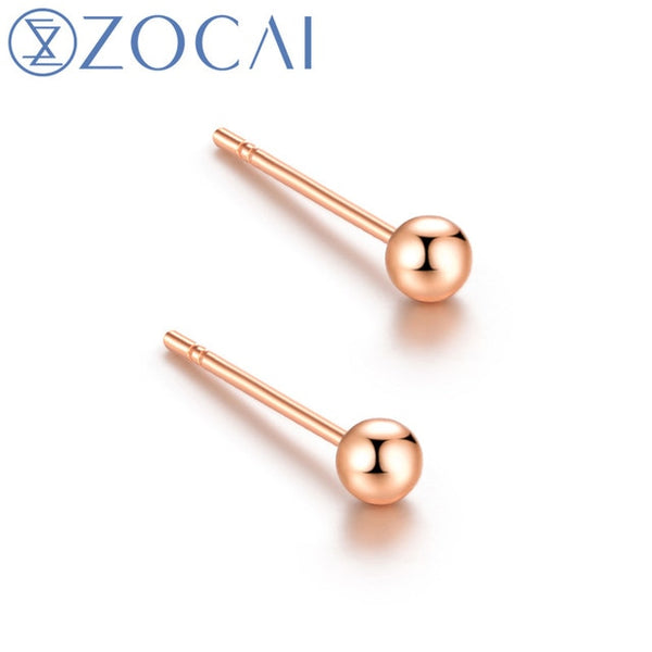 Real 18K Gold  Stud Earrings: White Gold, Yellow Gold and Rose Gold Available. (Stamped Au750) Model E00992