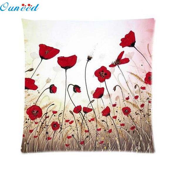 Ouneed home 45*45CM Throw Pillow Case Pillow Cover Living Room Sofe Home Silks Satins Square Pillowslip Flower Pillow Shams