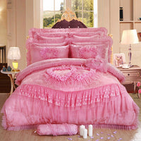 4pc Luxury Pink Princess Lace 600TC Silk /& Cotton Queen Duvet Cover Bedding Set