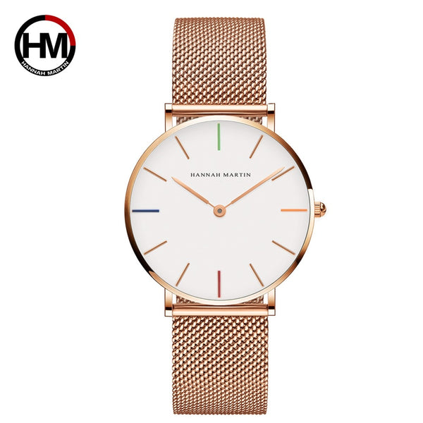Watch: Women's: By Hannah Martin Japanese Quartz Movement, High Quality, 36 mm face, Stainless Steel Mesh, Rose Gold color,  Water Resistant.