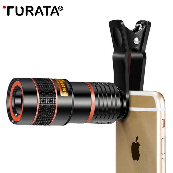 Telephoto Lens for Cell Phone (by TURATA): Universal Clip,  8X or 12X Zoom (matches iPhones, Samsung, Huawei and Xiaomi phones)