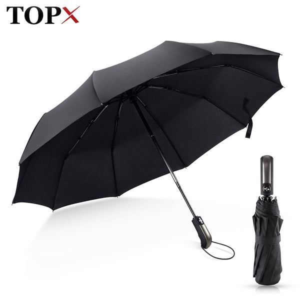 Umbrella: Wind Resistant Folding Automatic Umbrella Rain Women Auto Luxury Big Windproof Umbrellas Rain For Men Black Coating 10K Parasol