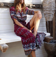 Women's Summer Fashion Long Dress: 3/4 sleeve