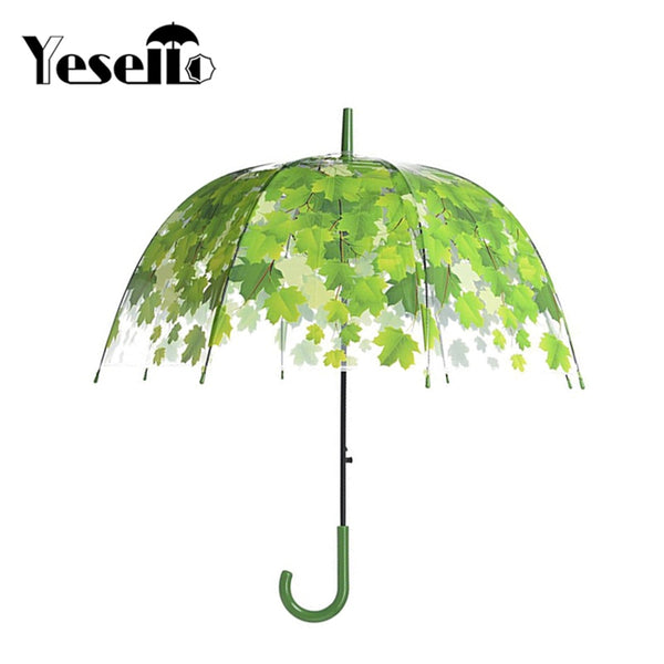 Umbrella: Fashion Bubble Style: Yesello Transparent Thicken PVC Mushroom Green Leaves Rain Clear Leaf Bubble Umbrella