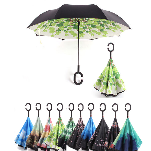 Umbrella: C Handle Windproof Reverse Folding Umbrella Man Women Sun Rain Car Inverted Umbrellas Double Layer Anti UV Self Stand Parapluie