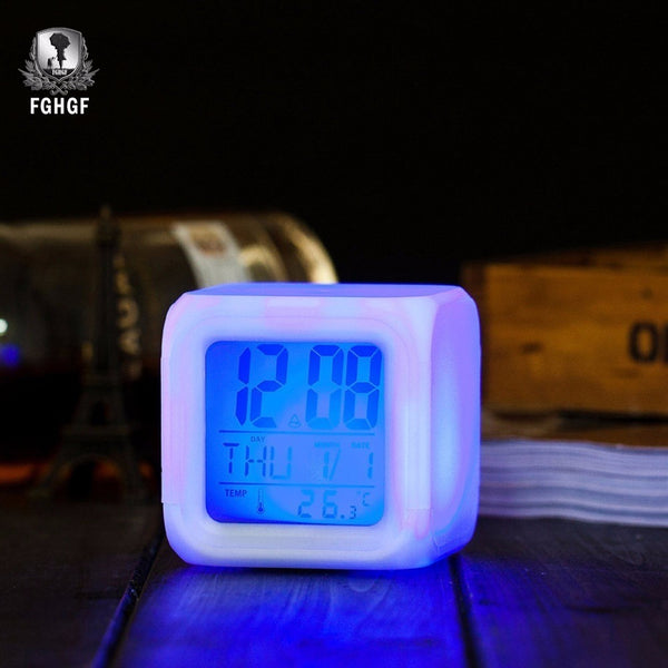 Children's Digital Alarm Clock: (7 color LED color changing scheme.)  Bedside Night Glow Cube