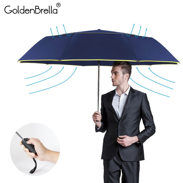 Umbrella: Men's, Fashion: 120CM Fully-Automatic Double Big Umbrella Rain Women 3Folding Wind Resistant Large Umbrella Men Travel Business Car Umbrellas