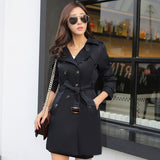 Women's Double Breasted Trench Coat: New Arrival for Autumn 2019; High Quality Business Outerwear, Classic Mid-length Trench Coat with Belt.