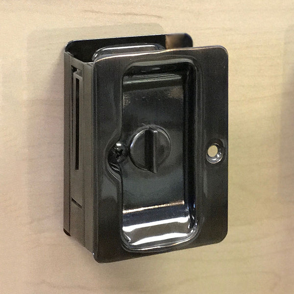 Pocket Door Lock - SQ-small-O-PR - 26D/C15/10B/17A (Brushed Chrome/Satin Nickel/Oil Rubbed Bronze/Antique Nickel)