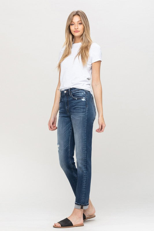 CUFFED STRETCH BOYFRIEND jeans